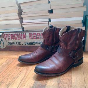 Frye Wyatt short harness boot cognac size 9.5